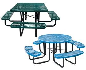 Expanded Metal Round Square Tables Motion Savers Inc - 46 round expanded metal picnic table
